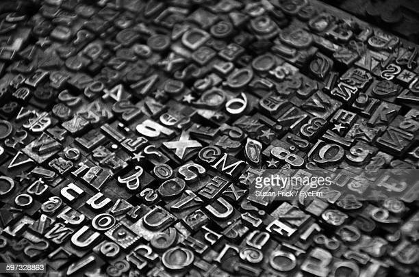full frame shot of printing blocks - font ストックフォトと画像