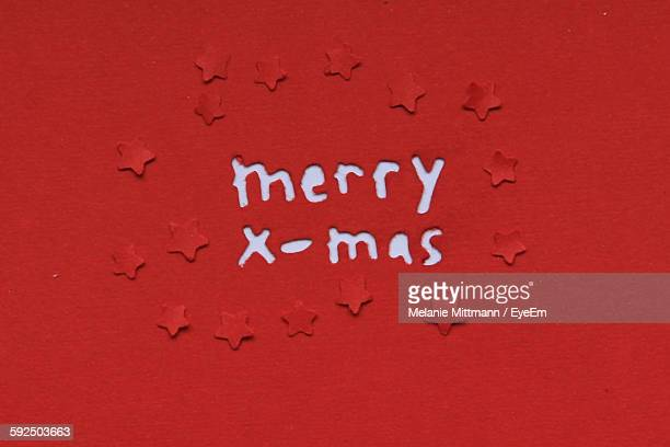 Full Frame Shot Of Red Christmas Card