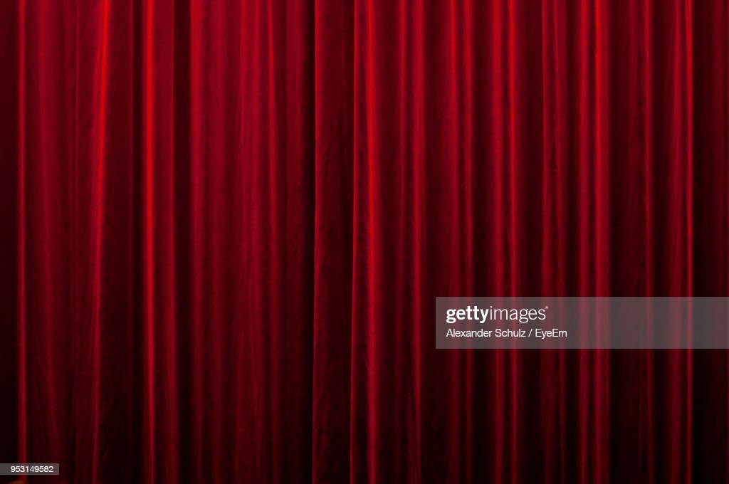 Full Frame Shot Of Red Curtain : Stock Photo