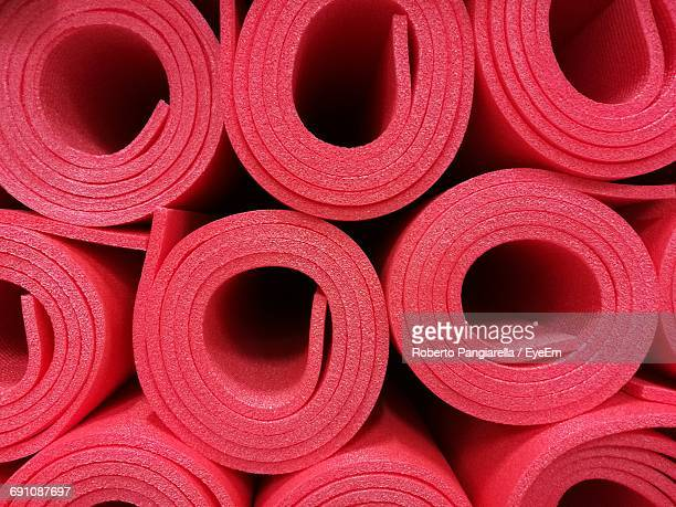 Full Frame Shot Of Red Exercise Mats