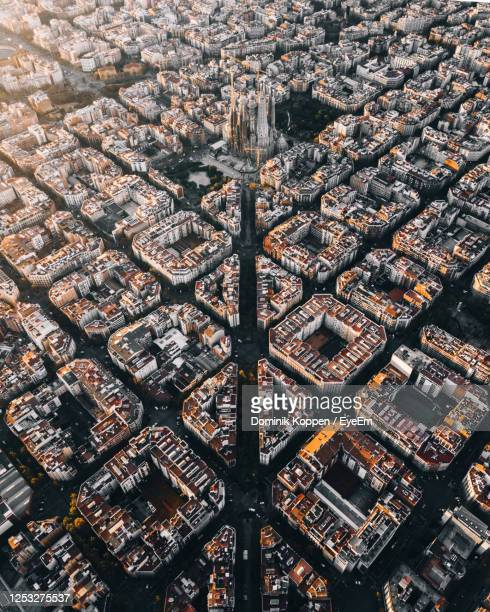 full frame shot of residential district - barcelona stock pictures, royalty-free photos & images