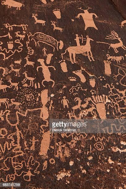 Full frame shot of rock paintings, Monticello, San Juan Country, Utah, USA