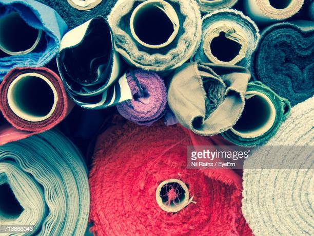 Full Frame Shot Of Rolled Up Textiles For Sale