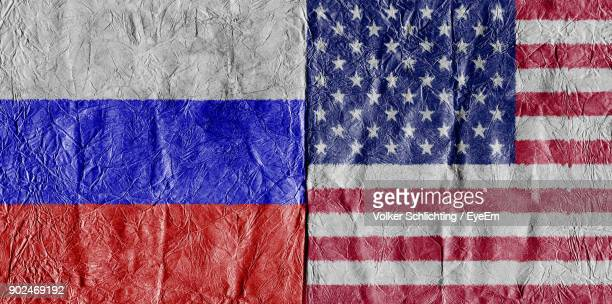 Full Frame Shot Of Russian And American Flags