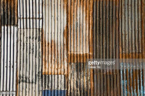 full frame shot of rusted corrugated metal - corrugated iron stock photos and pictures