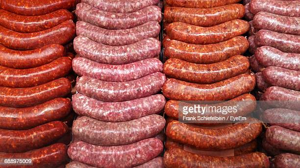 full frame shot of sausages - sausage stock pictures, royalty-free photos & images