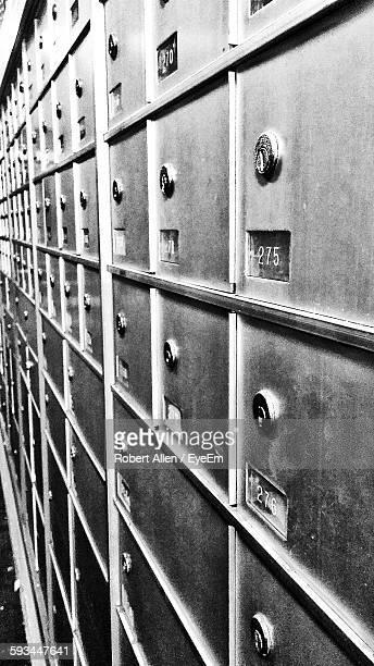 Full Frame Shot Of Security Lockers Post Office