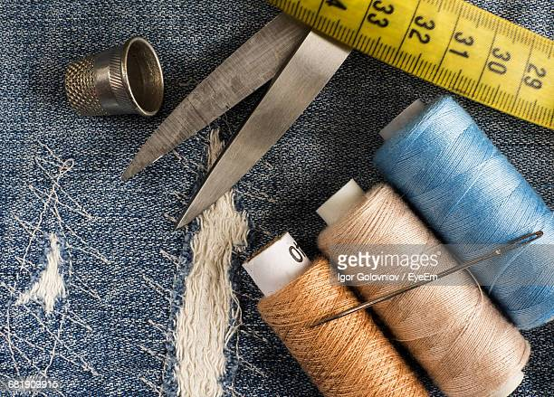 full frame shot of sewing materials - igor golovniov stock pictures, royalty-free photos & images