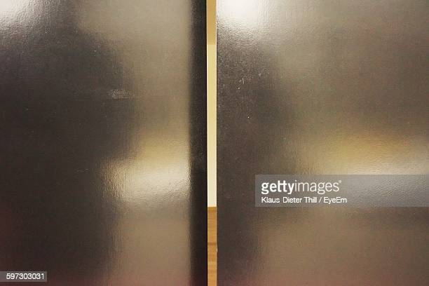 Full Frame Shot Of Silver Metallic Elevator Door