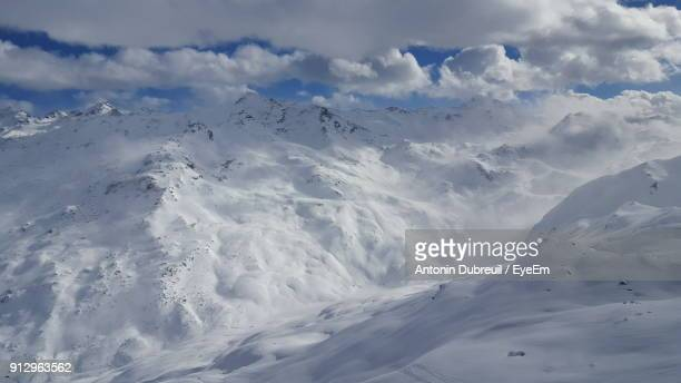 full frame shot of snow covered landscape - val thorens stock pictures, royalty-free photos & images
