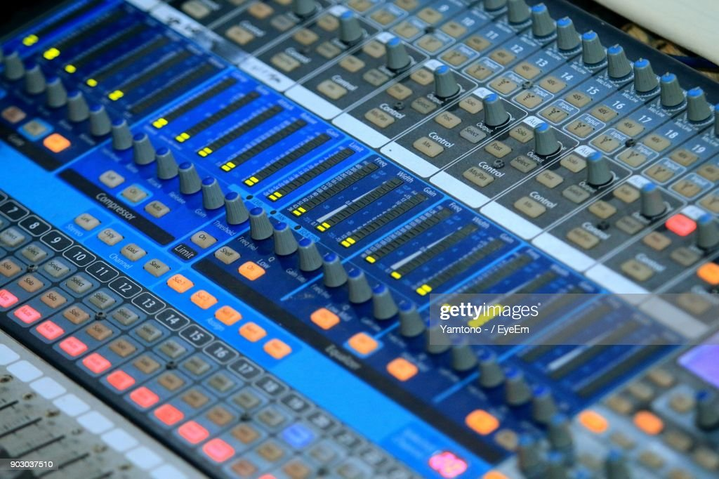 Full Frame Shot Of Sound Mixer At Recording Studio Stock Photo