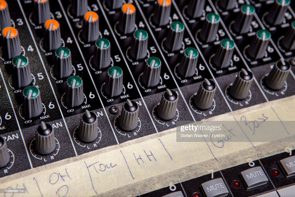 Full Frame Shot Of Sound Recording Equipment Stock Photo Getty Images