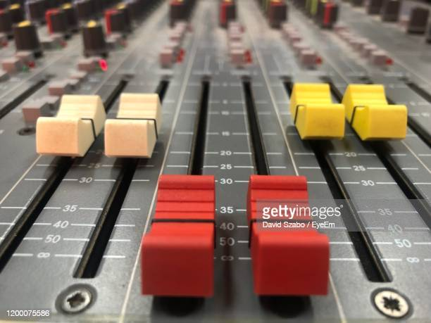 full frame shot of sound recording equipment - equaliser stock pictures, royalty-free photos & images