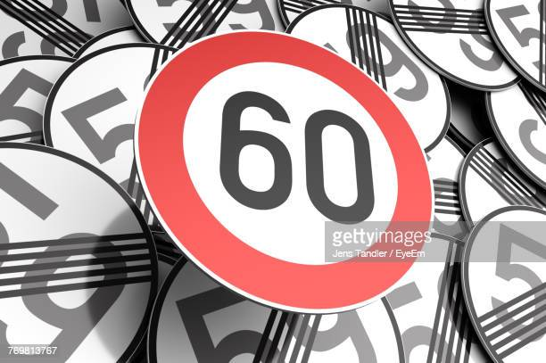full frame shot of speed limit signs - number 60 stock photos and pictures
