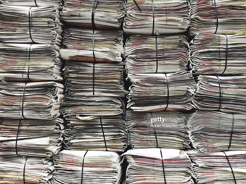 Full Frame Shot Of Stacked Newspapers : Stock Photo