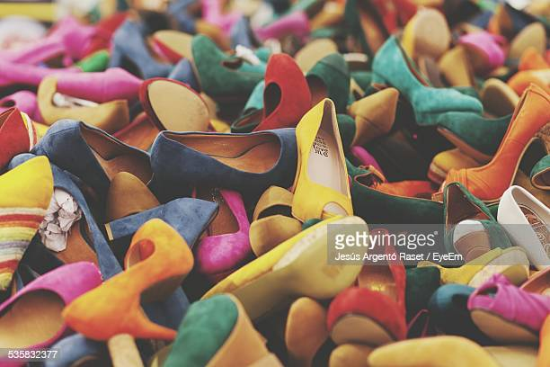 full frame shot of stilettos - multi colored shoe stock pictures, royalty-free photos & images