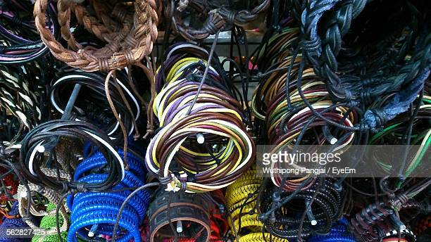 Full Frame Shot Of String Bracelets At Market Stall