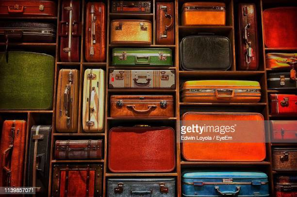 full frame shot of suitcase and luggage in store for sale - large group of objects stock pictures, royalty-free photos & images