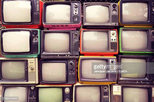 full frame shot of television set - television set stock pictures, royalty-free photos & images