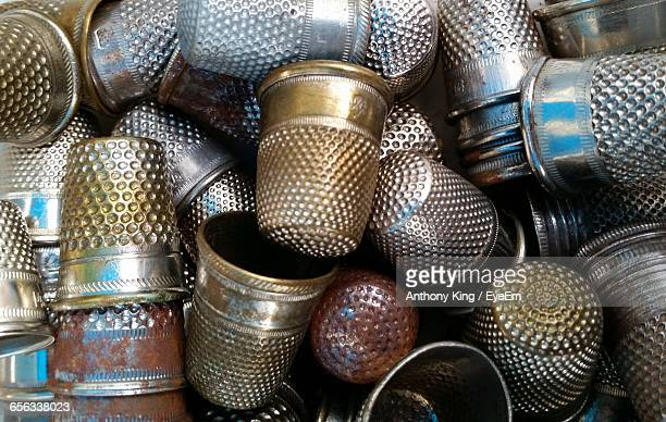 full frame shot of thimbles - thimble stock photos and pictures