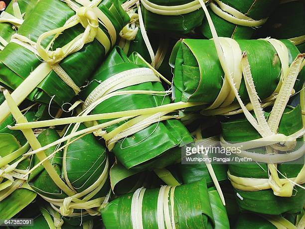 Full Frame Shot Of Tied Banana Leaf