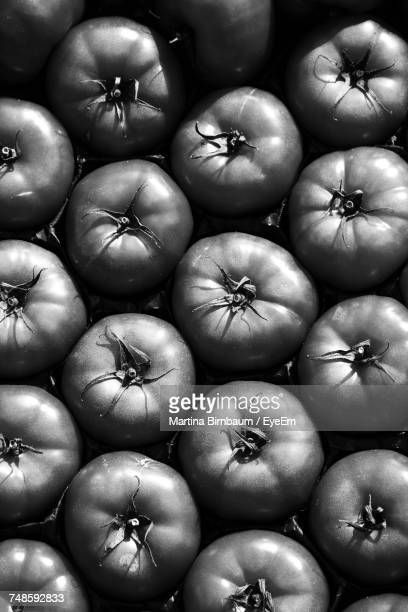 full frame shot of tomatoes for sale - black and white vegetables stock photos and pictures