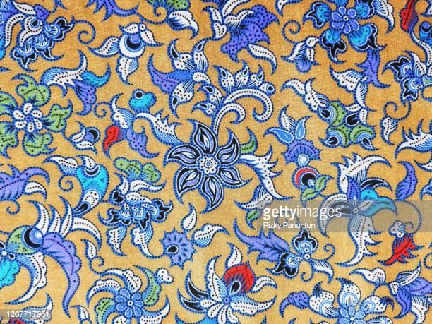 full frame shot of traditional patterned indonesian batik - batik stock pictures, royalty-free photos & images