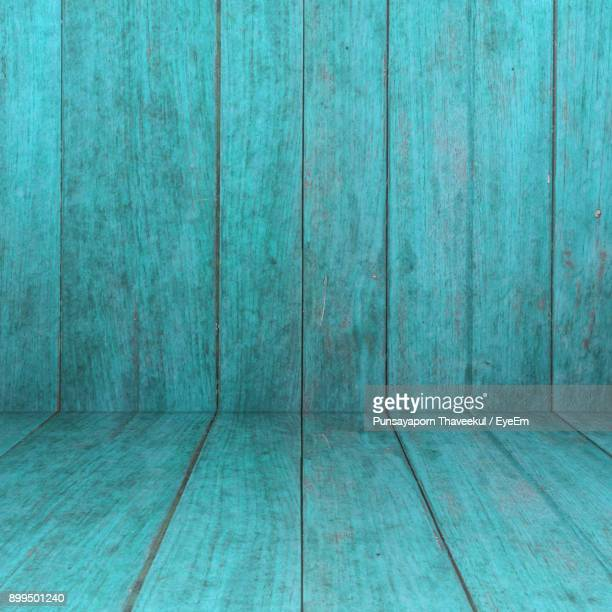 Full Frame Shot Of Turquoise Wooden Floor And Wall