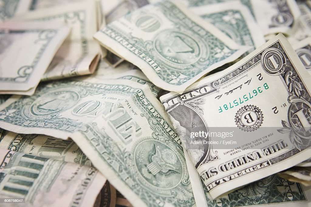 Full Frame Shot Of Us Paper Currencies : Stock Photo