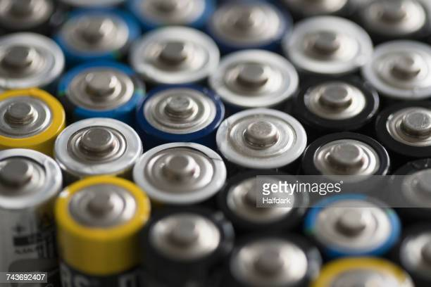 Full frame shot of various batteries