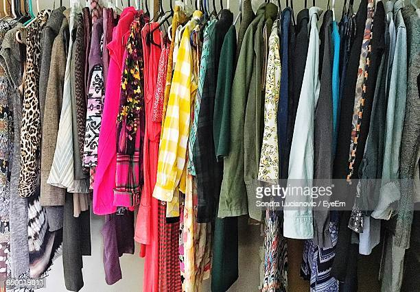 Full Frame Shot Of Various Clothes Hanging In Wardrobe