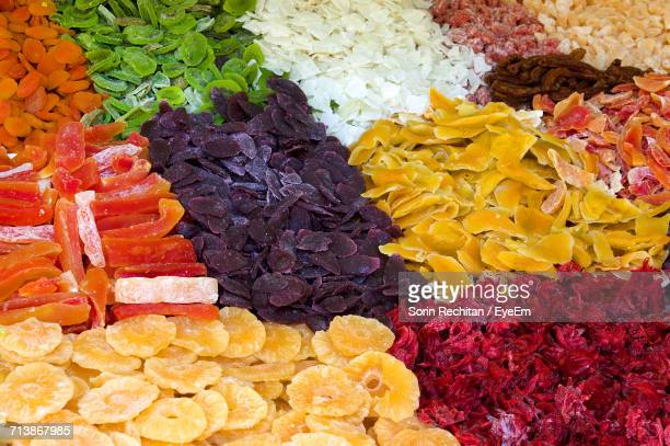 Full Frame Shot Of Various Dried Fruits For Sale At Market