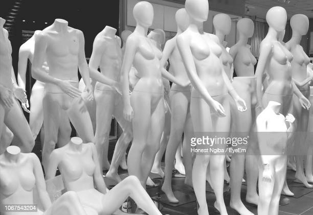 full frame shot of various mannequins in store - mannequin stock pictures, royalty-free photos & images