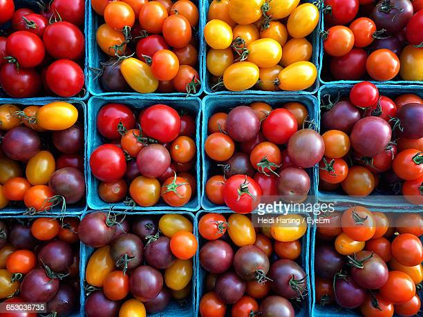 Full Frame Shot Of Various Tomatoes In Containers