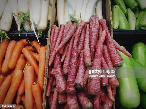 Full Frame Shot Of Various Vegetables Arranged At Market Stall