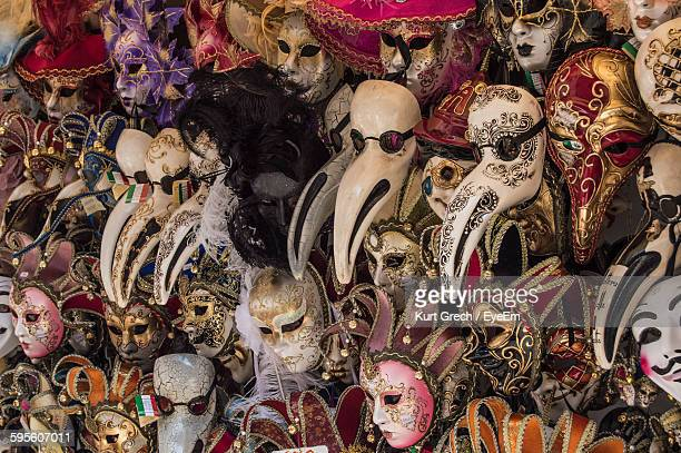Full Frame Shot Of Venetian Masks For Sale At Street Market