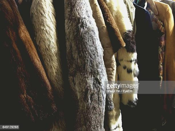 full frame shot of vintage fur coats - fur coat stock pictures, royalty-free photos & images