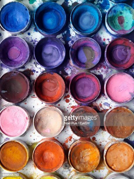 full frame shot of watercolor paints - artist's palette stock photos and pictures