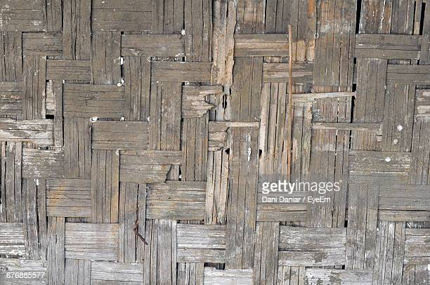 Full Frame Shot Of Weathered Old Bamboo Wall