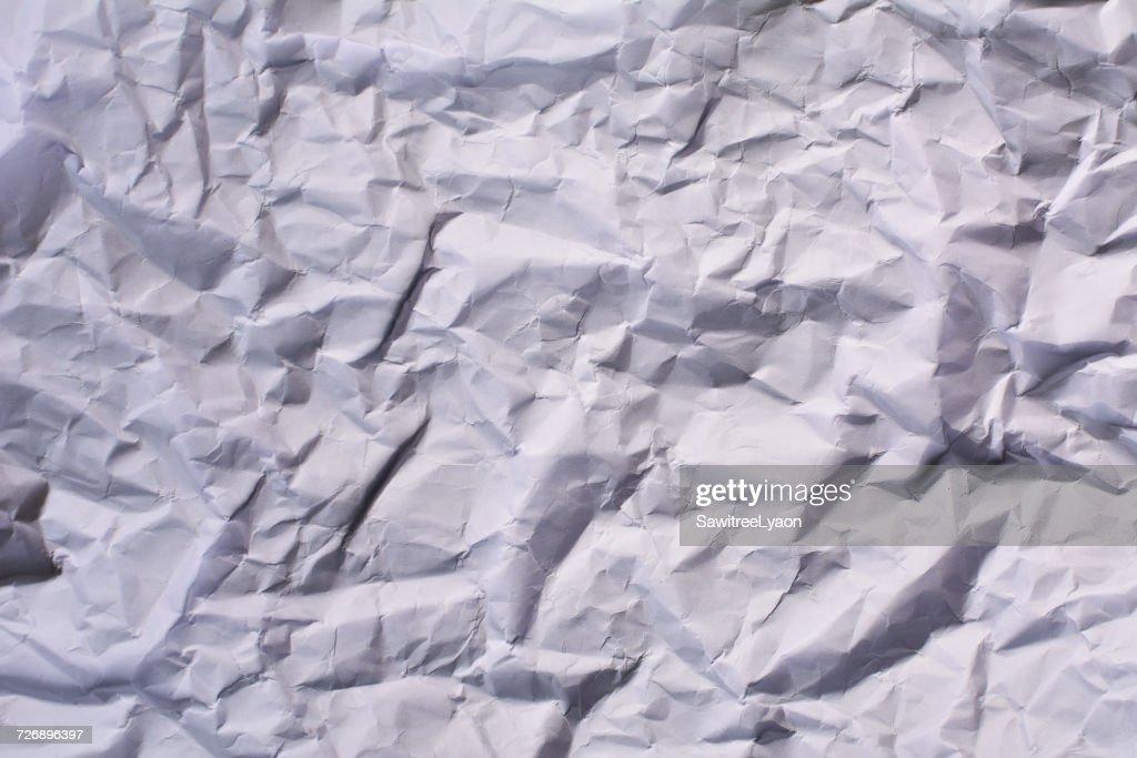 Full Frame Shot Of White Crumpled Paper : Stock Photo