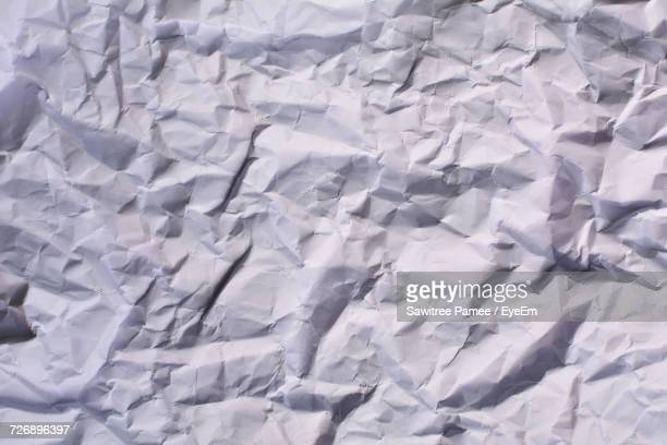 Full Frame Shot Of White Crumpled Paper