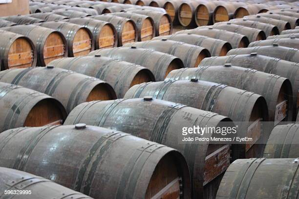 Full Frame Shot Of Wine Casks Outdoors