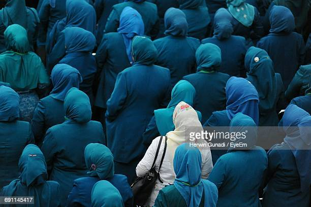 full frame shot of women wearing hijabs - individuality stock photos and pictures