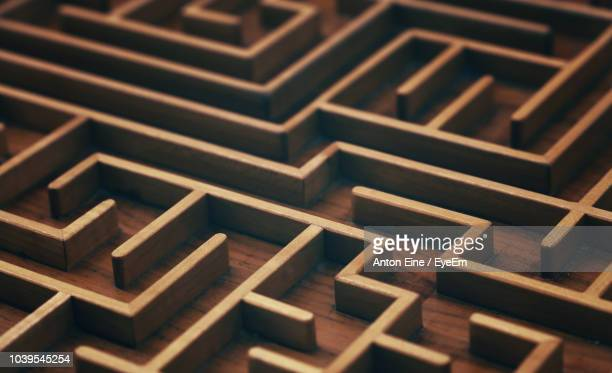 full frame shot of wooden maze - maze stock photos and pictures
