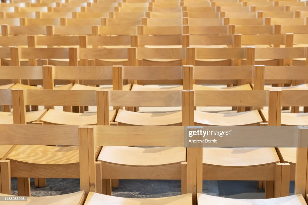Full Frame Shot Of Wooden Seats : Stock Photo