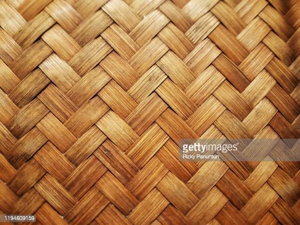 full frame shot of woven bamboo handmade - braided stock pictures, royalty-free photos & images