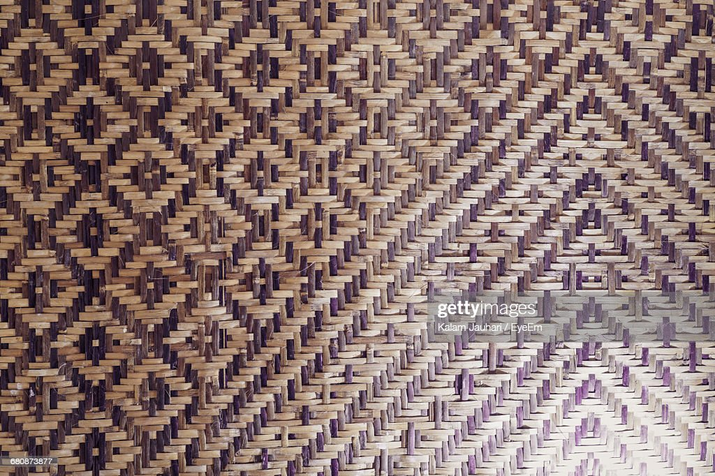 Full Frame Shot Of Woven Bamboo Mat Stock Photo | Getty Images
