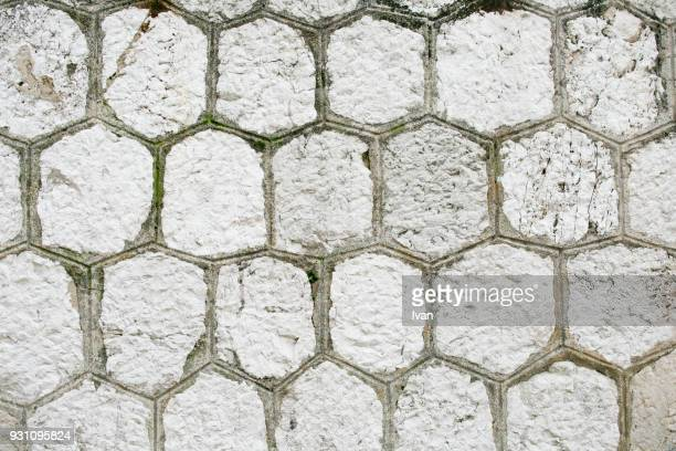 Full Frame Texture, ㄖackground of floor with paving stones and hexagon shapes.