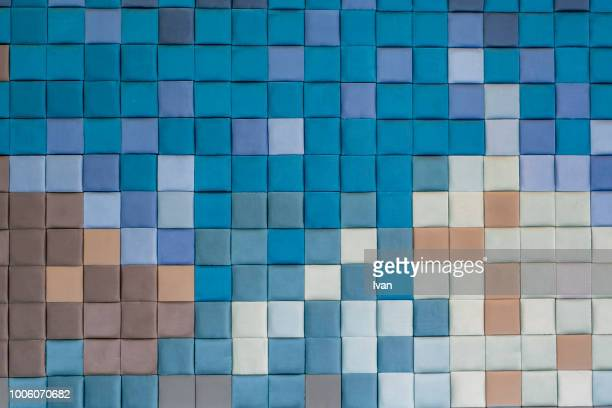 full frame texture, colorful mosaic with  bluetone - mosaik stock-fotos und bilder