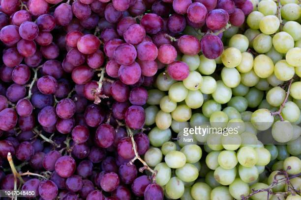 full frame texture, group of fruit, white and green grape - red grape stock photos and pictures